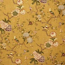 Gold Botanical Drapery and Upholstery Fabric by G P & J Baker