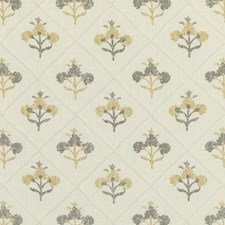 White/Yellow/Grey Botanical Drapery and Upholstery Fabric by Kravet