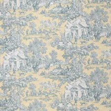 Yellow/Blue/Beige Toile Drapery and Upholstery Fabric by Kravet