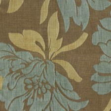 Taupe Blue Drapery and Upholstery Fabric by RM Coco