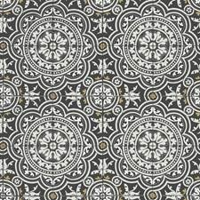 Grey/Metallic Gold On Black Geometric Wallcovering by Cole & Son Wallpaper