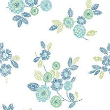 Green Floral and Flower Wallcovering by Brewster
