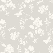 Soft Gray/White Botanical Wallcovering by York