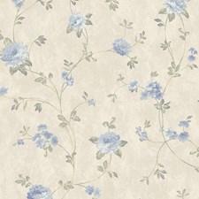 Satin Beige/Light Blue/Medium Blue Floral Mini Wallcovering by York