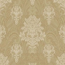 Matte Gold/Metallic Gold/Cream Damask Wallcovering by York