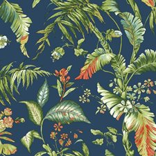 Deep Blue/Yellow/Green to Dark Green Botanical Wallcovering by York