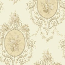 Eggshell/Pale Yellow/Brown Floral Wallcovering by York
