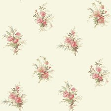 White/Coral/Tan Floral Wallcovering by York