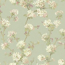 Aqua/White/Cream Floral Wallcovering by York