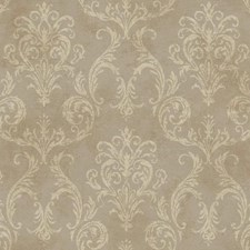 Silver/Beige/Brown Damask Wallcovering by York
