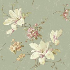 Grey/Green/White Floral Wallcovering by York