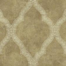 Light Gold/Metallic Gold/Cream Trellis Wallcovering by York