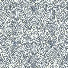 White/Deep Blue Paisley Wallcovering by York
