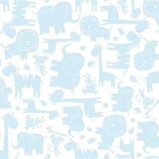 White/Light Blue Animals Wallcovering by York