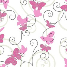 White/Soft Pink/Bright Pink Bugs Wallcovering by York