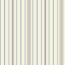 White/Light and Dark Blue/Tan Stripes Wallcovering by York