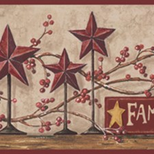 Khaki Tan/Red Burgundy/Wood Brown Country Vines Berry Berries Shelves Wooden Lodge Rustic Wallcovering by York