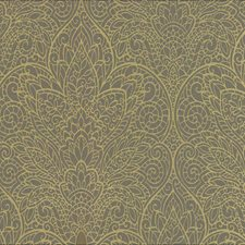 Gray/Metallic Gold Silver Damask Wallcovering by York