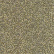 Gray/Metallic Gold Silver Damask Wallcovering by York