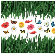 CR-57352 Grass With Butterflies And Flowers Wall Decals by Brewster