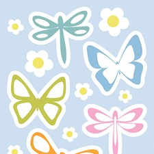 CR-77224 Spring Butterflies Glow In The Dark Wall Decals by Brewster