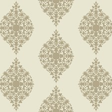 Taupe Glass Beads On Cream Damask Wallcovering by York