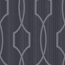 Shining Silver/Ebony Black Trellis Wallcovering by York