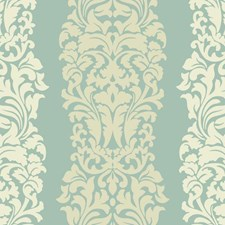 Aquamarine Sheen/Egg Shell/Butter Cream Frosting Damask Wallcovering by York