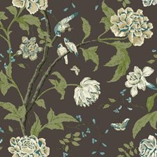 Earthy Brown/Tan/White Teal Botanical Wallcovering by York