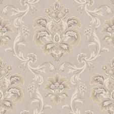 Pale Beige/Light Grey/Cream Damask Wallcovering by York