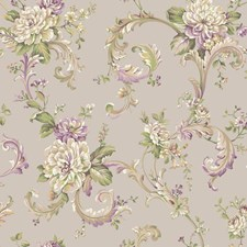 Light Taupe/White/Beige Floral Medium Wallcovering by York