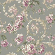Metallic Silver/Pink/Cream Floral Wallcovering by York