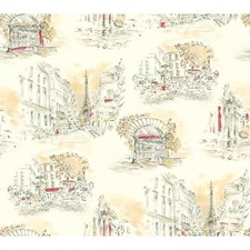 Cream/Taupe/Black Toile Wallcovering by York