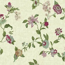 Beige/Aqua/Magenta Floral Wallcovering by York