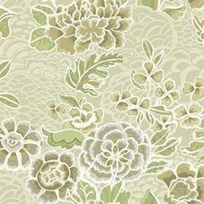 Beige/Tan Satin/Dark Brown Floral Wallcovering by York