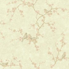 Pale Gold/Off White/Light Pink Floral Wallcovering by York