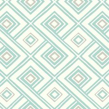 White/Turquoise/Light Taupe Geometrics Wallcovering by York
