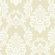 Beige/White Damask Wallcovering by York