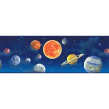 Blue/Red/Yellow Solar System Wallcovering by York