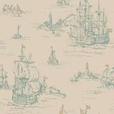 Beige/Teal/Gold Scenic Wallcovering by York