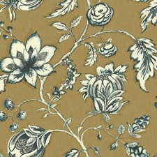 Gold/Teal/Cream Floral Wallcovering by York
