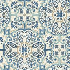 NU2235 Blue Florentine Tile Peel & Stick by Brewster