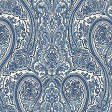 White/Cobalt Blue/Sky Blue Paisley Wallcovering by York