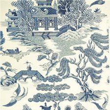 Blue/Cream Asian Wallcovering by Lee Jofa Wallpaper