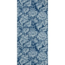 Blue Damask Wallcovering by Brunschwig & Fils