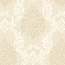 Soft Cream/Soft Taupe/Pearled Dusky Oyster Damask Wallcovering by York