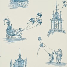 Blue Toile Wallcovering by Baker Lifestyle Wallpaper