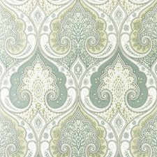 Aqua/Gilver Damask Wallcovering by Baker Lifestyle Wallpaper