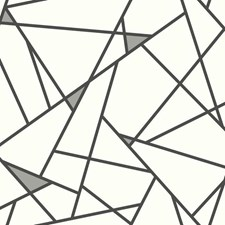 Black/Metallic Gray/White Geometrics Wallcovering by York