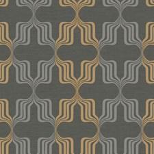 Black/Metallic Gold/Metallic Gray Geometrics Wallcovering by York